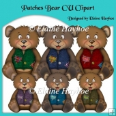Patches Bear CU Clipart