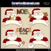 Banner Santa ClipArt Graphic Collection