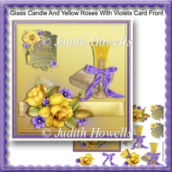 Glass Candle And Yellow Roses With Violets Card Front