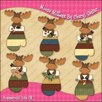 Moose Mittens ClipArt Graphic Collection