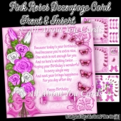 Pink Roses Decoupage Card Front