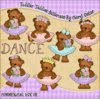 Toddler Teddies Ballerinas ClipArt Graphic Collection