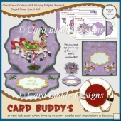 Christmas Carousel Wavy Edged Round Easel Duo Card Kit