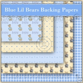 5 Blue Lil Bears Backing Papers Download (C156)