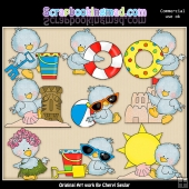 Baby Birdies Pool Party ClipArt Collection