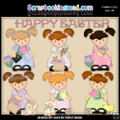 Pigtail Penny Happy Easter ClipArt Collection