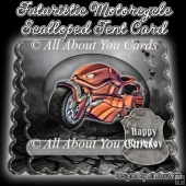 Futuristic Motorcycle Scalloped Tent Card