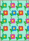 A4 Backing Papers Single - Green Flowers - REF_BP_166