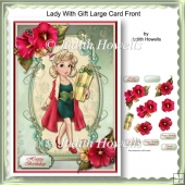 Lady With Gift Large Card Front