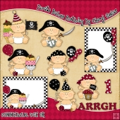 Pirate Babies Birthday ClipArt Graphic Collection