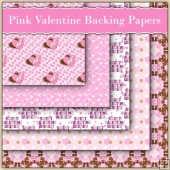 5 Pink Valentine Love Letter Backing Papers Download (C232)
