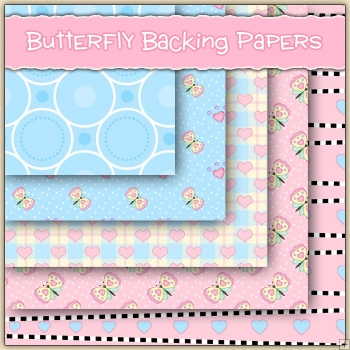 5 Butterfly Backing Papers Download (c247)