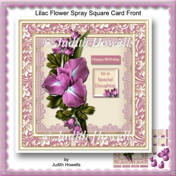 Lilac Flower Spray Square Card Front