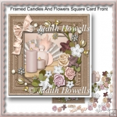 Framed Candles And flowers Square Card Front