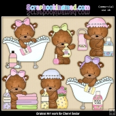 Bailey Bears Bath Time ClipArt Graphic Collection