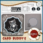 Black & White Kitten Shaped Fold Card with Wavy Topper Kit