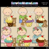 Barefoot Babies Little Cupcake ClipArt Collection