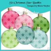 Six Christmas Star Baubles