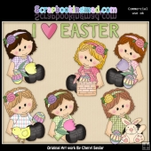Sitting Sophie I Love Easter ClipArt Collection