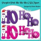 Purple and Pink Ho Ho Ho CU Clipart