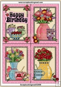4 Birthday Tea Quick Greeting Cards PDF Download