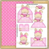 Little Girly Bunny PDF Decoupage Download