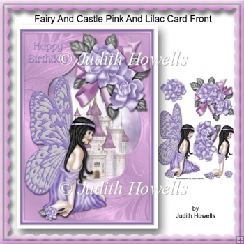 Fairy And Castle Pink And Lilac Card Front