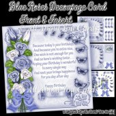Blue Roses Decoupage Card Front