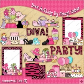 Diva Birthday ClipArt Graphic Collection