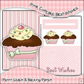Pink Cupcake Best Wishes PDF Penny Slider Card Download