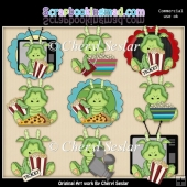 Stuffed Dragons Movie Night ClipArt Collection