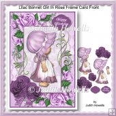 Lilac Bonnet Girl In Rose Frame Card Front