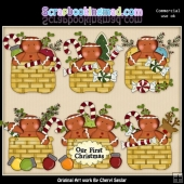 Gingerbread Christmas Baskets ClipArt Collection