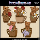 Bears And Flower Cups ClipArt Collection