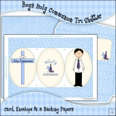 Boys Holy Communion Tri Shutter Card