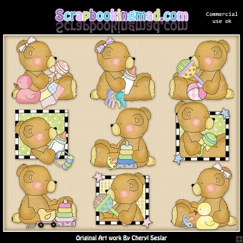 Stuffington Baby Bears ClipArt Collection