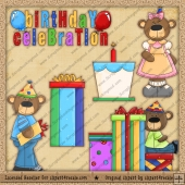 Birthday Bear ClipArt Graphic Collection