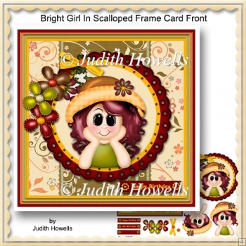 Bright Girl In Scalloped Frame Card Front