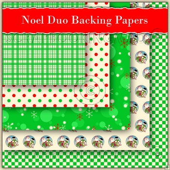5 Noel Christmas Duo Backing Papers Download (C182)