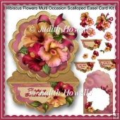 Hibiscus Flowers Multi Occasion Scalloped Easel Card Kit