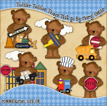 Toddler Teddies Things That Go ClipArt Graphic Collection
