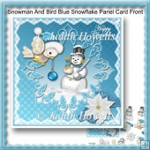 Snowman And Bird Blue Snowflake Panel Card Front