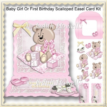 Baby Girl Or First Birthday Scalloped Easel Card Kit