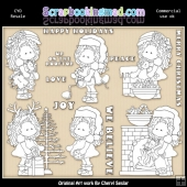 Zoey Christmas Wishes Colour Your Own ClipArt RESALE SET