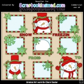 RESALE ART WORK Red & Green Let It Snow Squares ClipArt