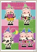 6 Birthday Cow Quick Cards PDF Download