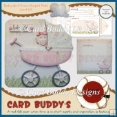 Baby Girl Pram Shaped Fold Card Kit