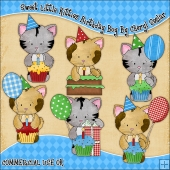 Sweet Little Kitties Birthday Boy ClipArt Graphic Collection