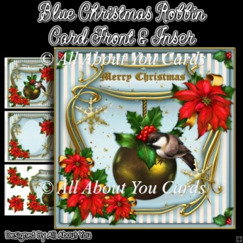 Blue Christmas Robbin Card Front & Insert