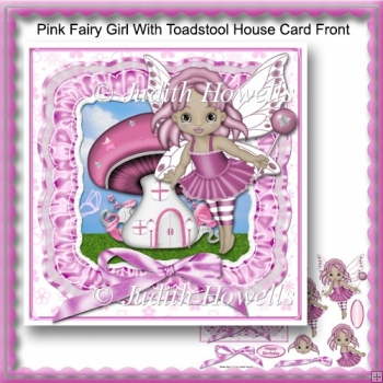 Pink Fairy Girl With Toadstool House Card Front